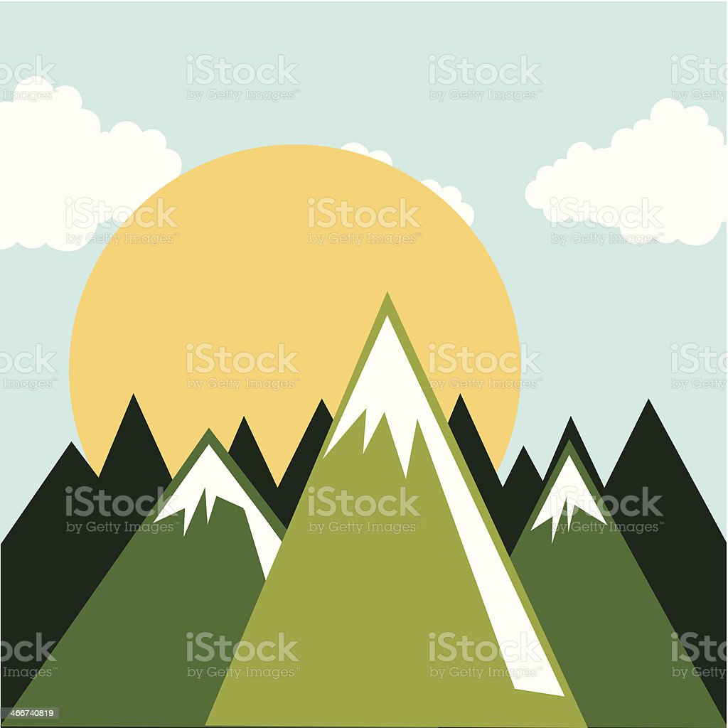 Cartoon illustration of green snow capped mountains royalty-free stock vector art