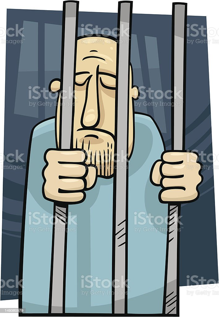 cartoon illustration of jailed man vector art illustration