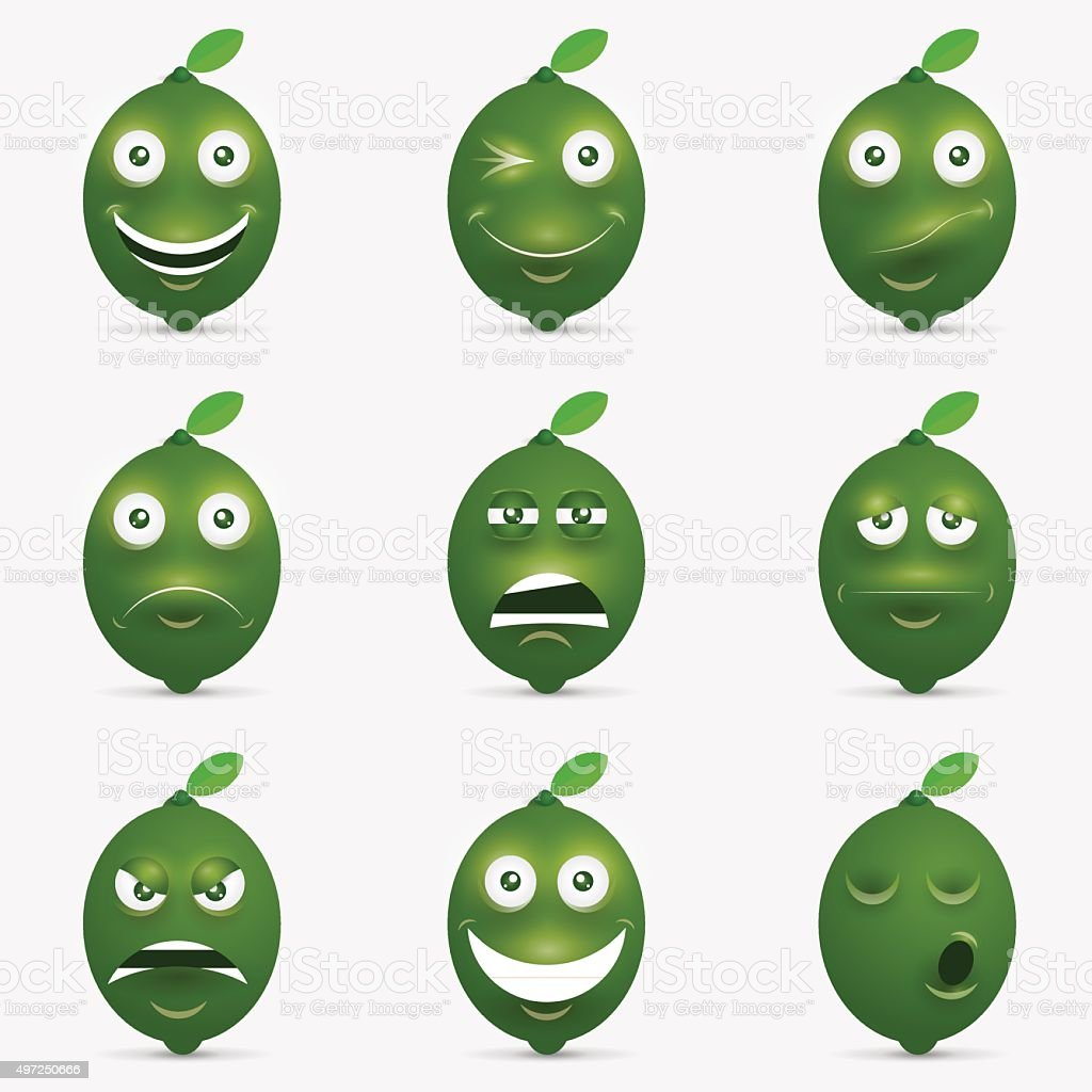 Cartoon illustration of  lime with  happy expression vector art illustration