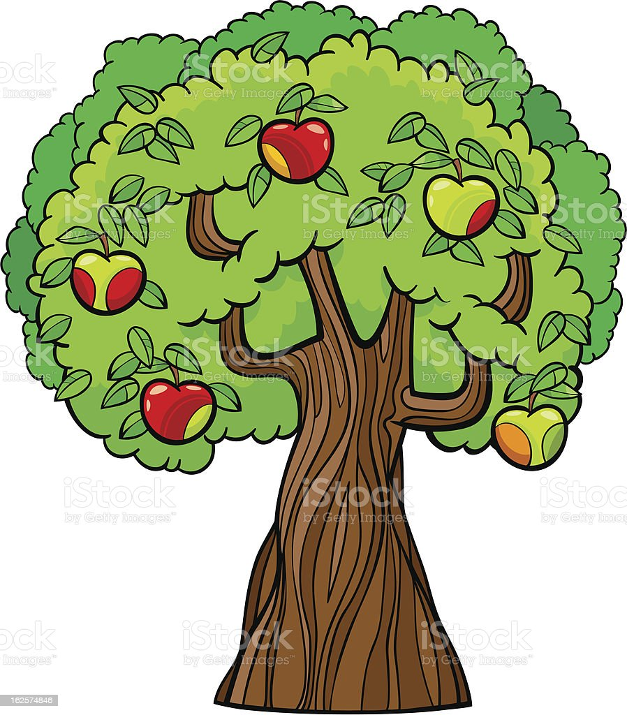 Cartoon illustration of red and green apple tree royalty-free stock vector art