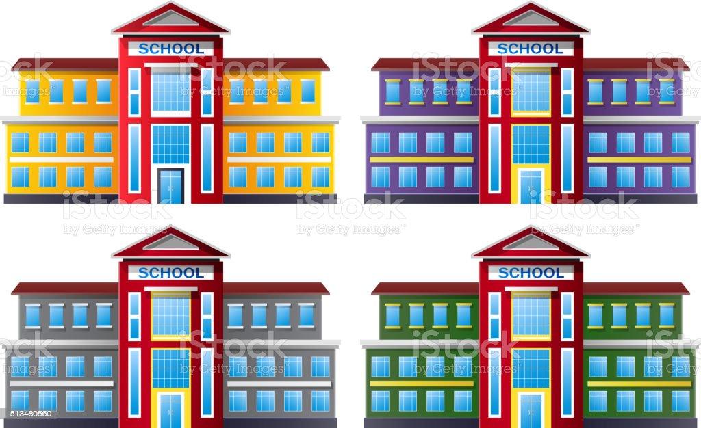 Cartoon illustration of school building collection set vector art illustration