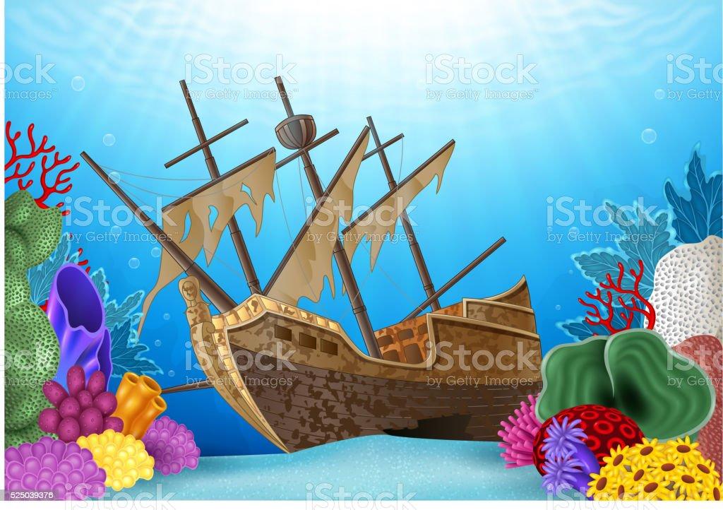 Cartoon illustration of Shipwreck on the ocean vector art illustration