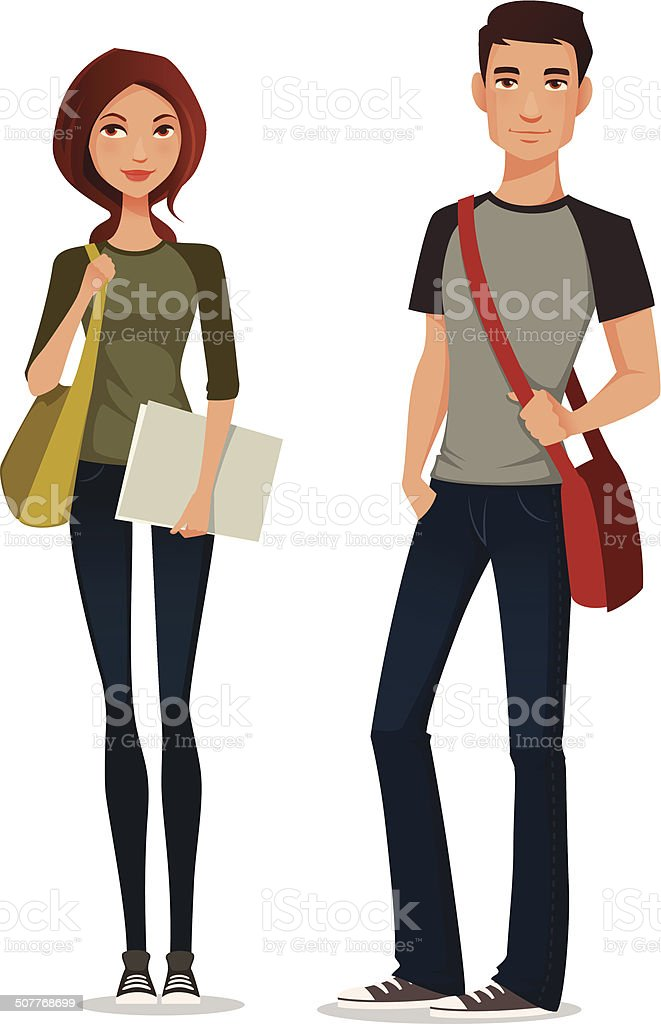 cartoon illustration of students in casual clothes vector art illustration