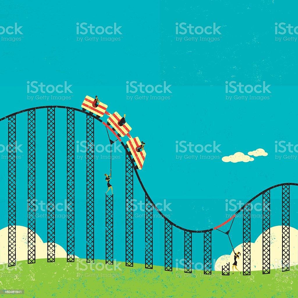 Cartoon illustration of supports in a roller coaster vector art illustration