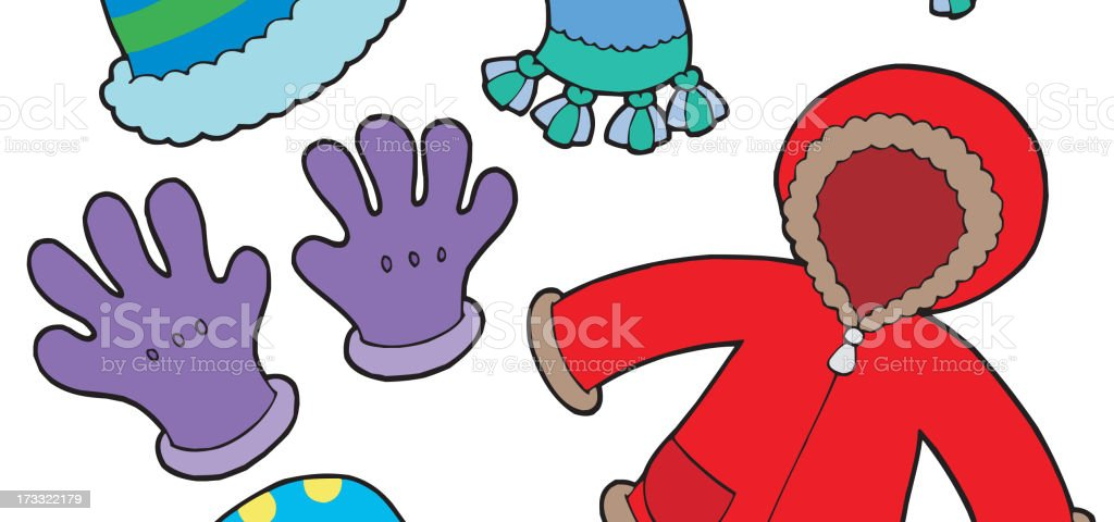Cartoon illustration of winter clothes items on white vector art illustration