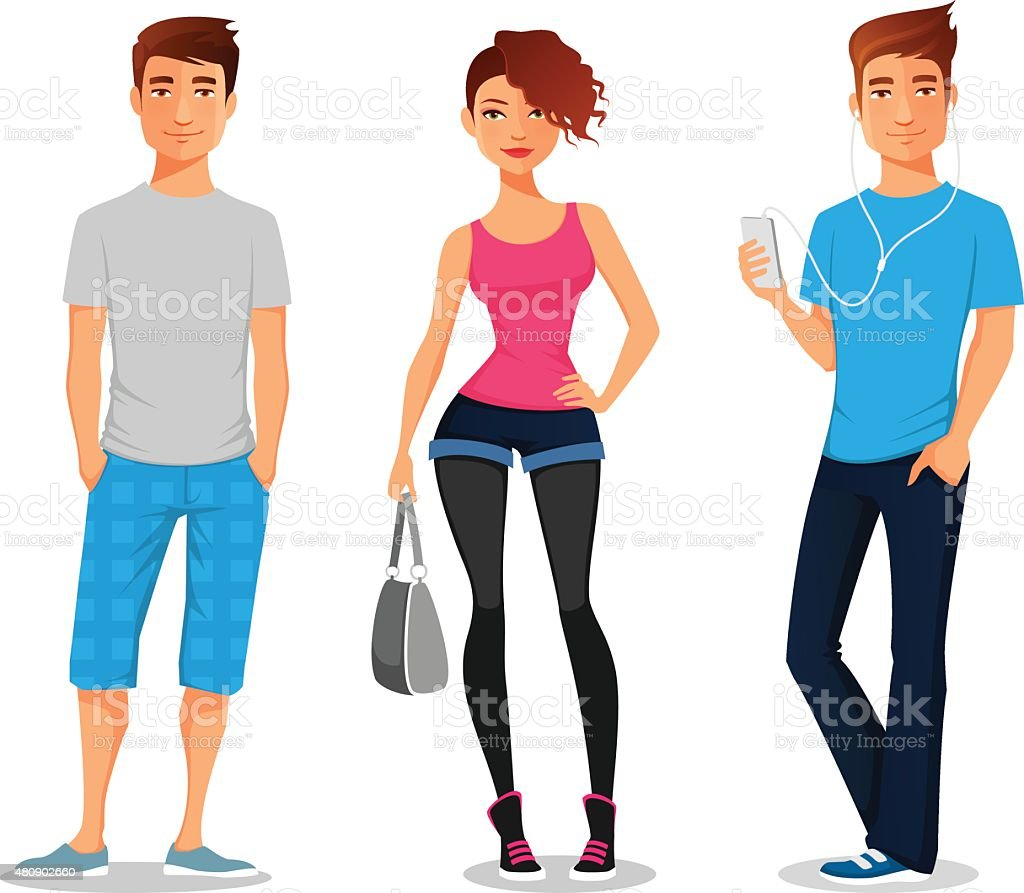 cartoon illustration of young people vector art illustration