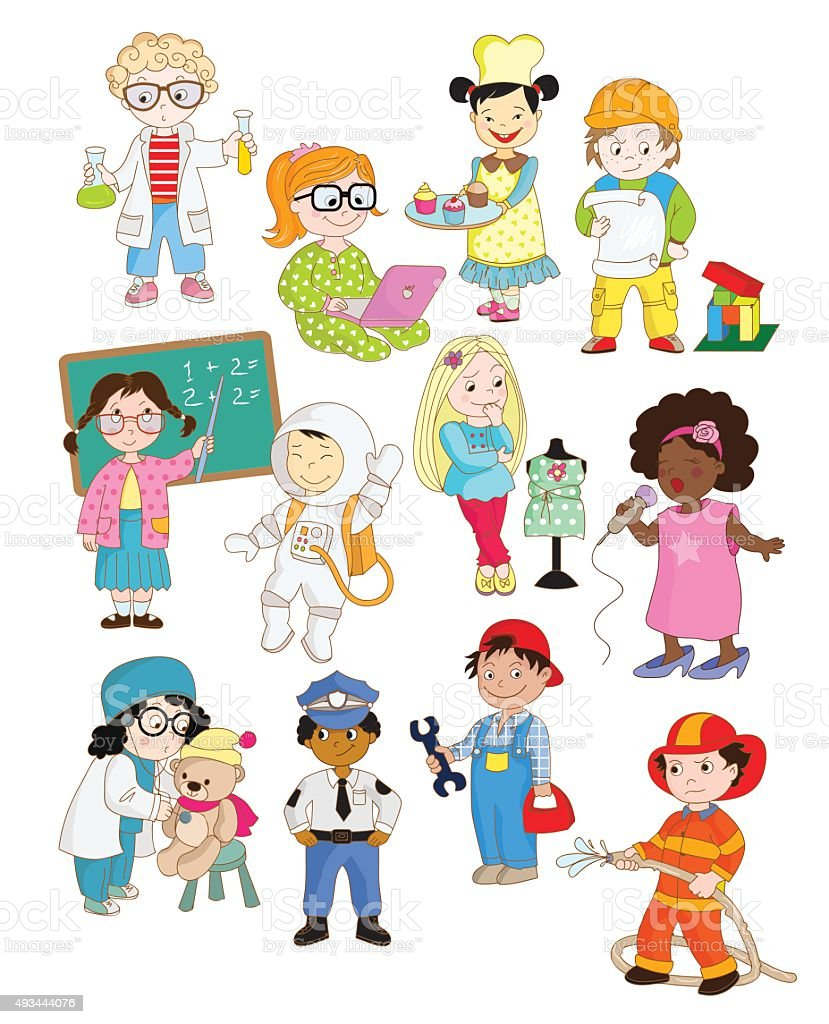 Cartoon illustrations of toddlers pretending as adults vector art illustration