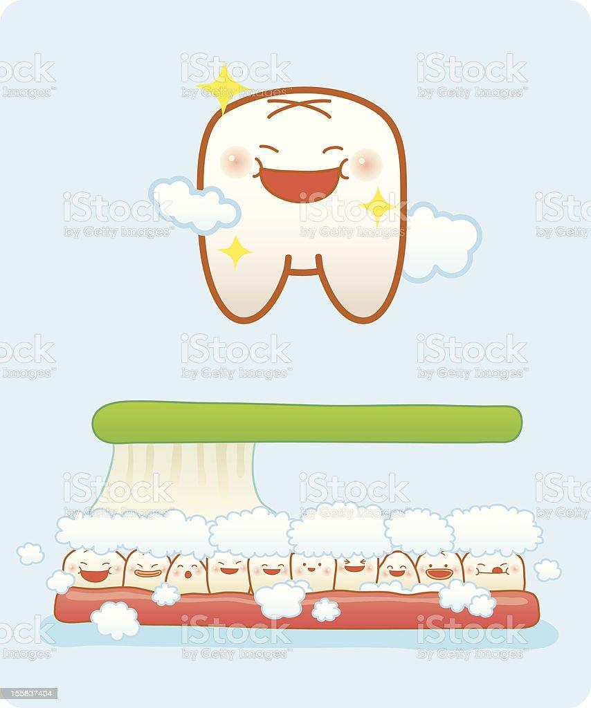 Cartoon image depicting happy teeth and toothbrush vector art illustration