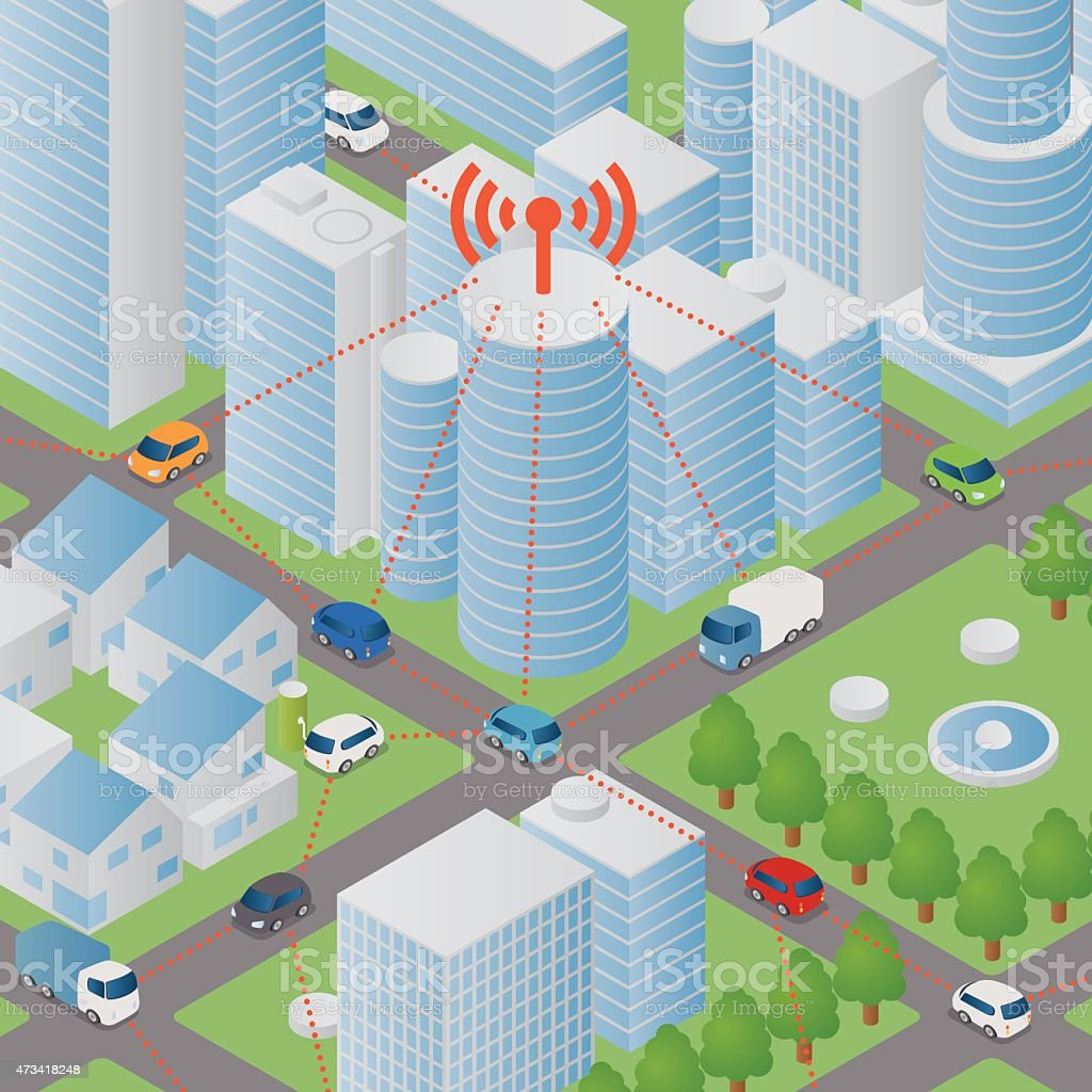 A cartoon image depicting wireless network in a city vector art illustration
