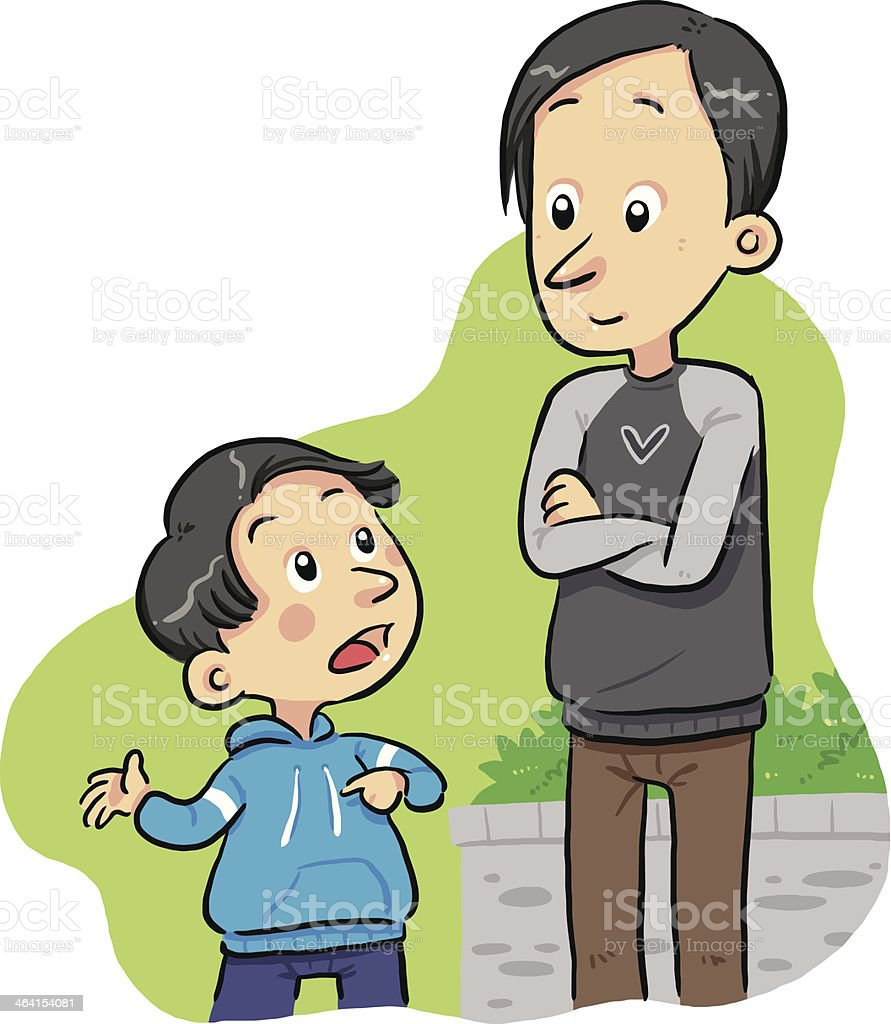 Cartoon image of a boy asking a question to his father  vector art illustration