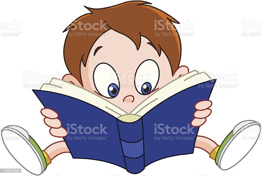 Niño Leyendo Libro Illustracion Libre de Derechos 164441820 | iStock
