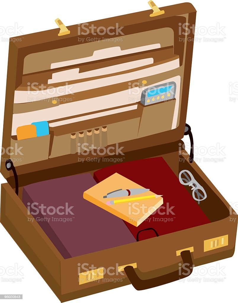 Cartoon image of a briefcase opening royalty-free stock vector art