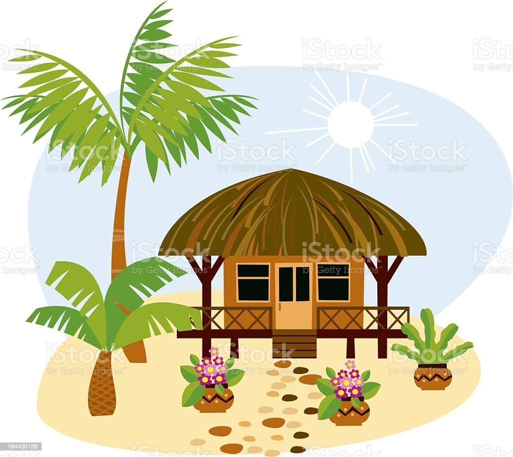 A cartoon image of a bungalow in the tropics vector art illustration