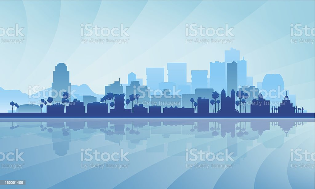 A cartoon image of a city silhouette in blue vector art illustration