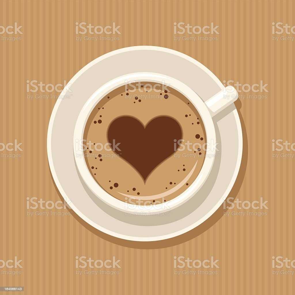 A cartoon image of a cup of coffee with a heart vector art illustration