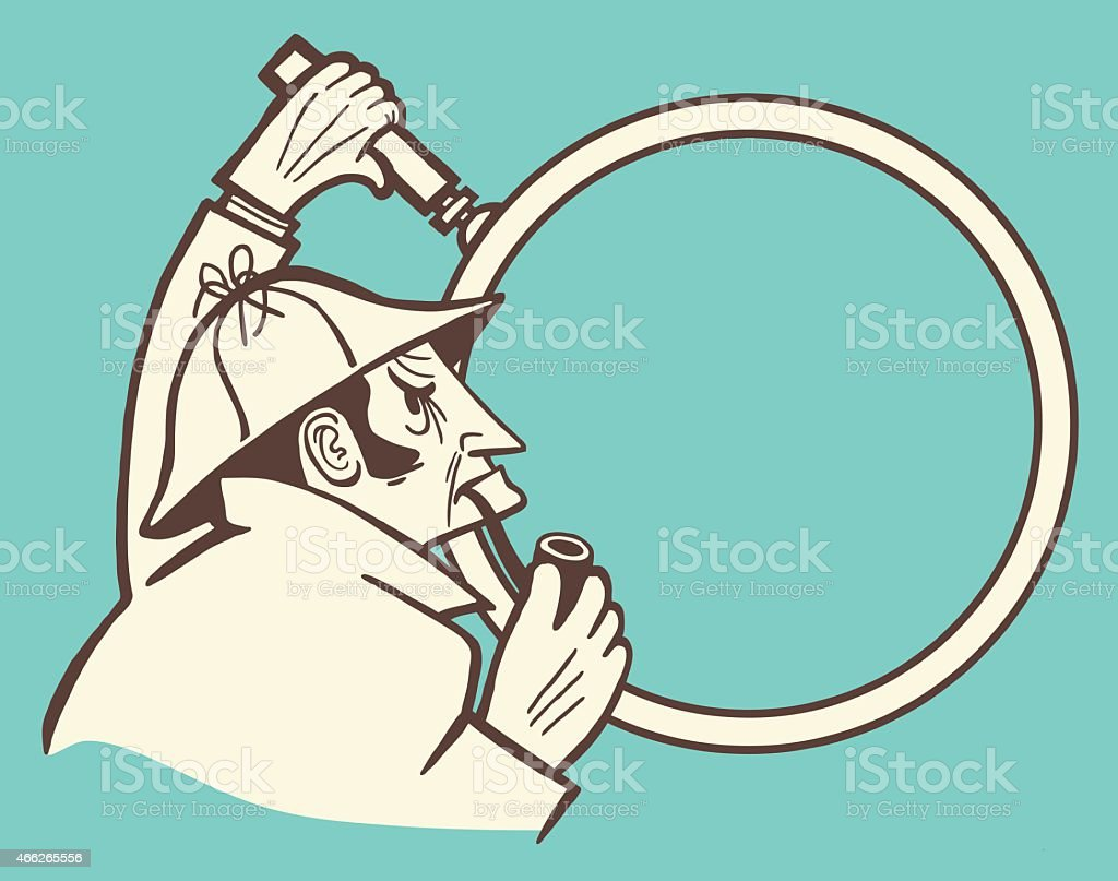 Cartoon image of a detective with pipe and magnifying glass vector art illustration