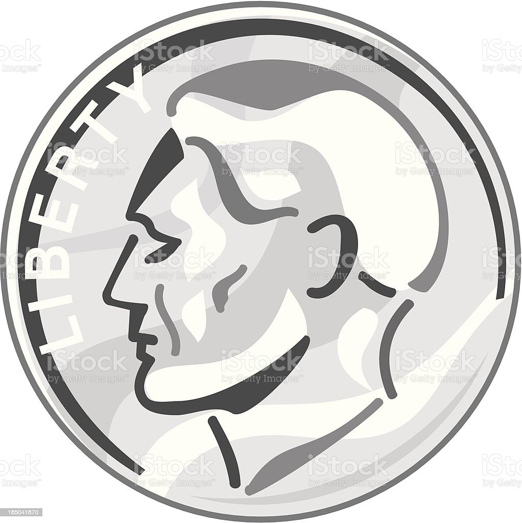 A cartoon image of a dime coin vector art illustration