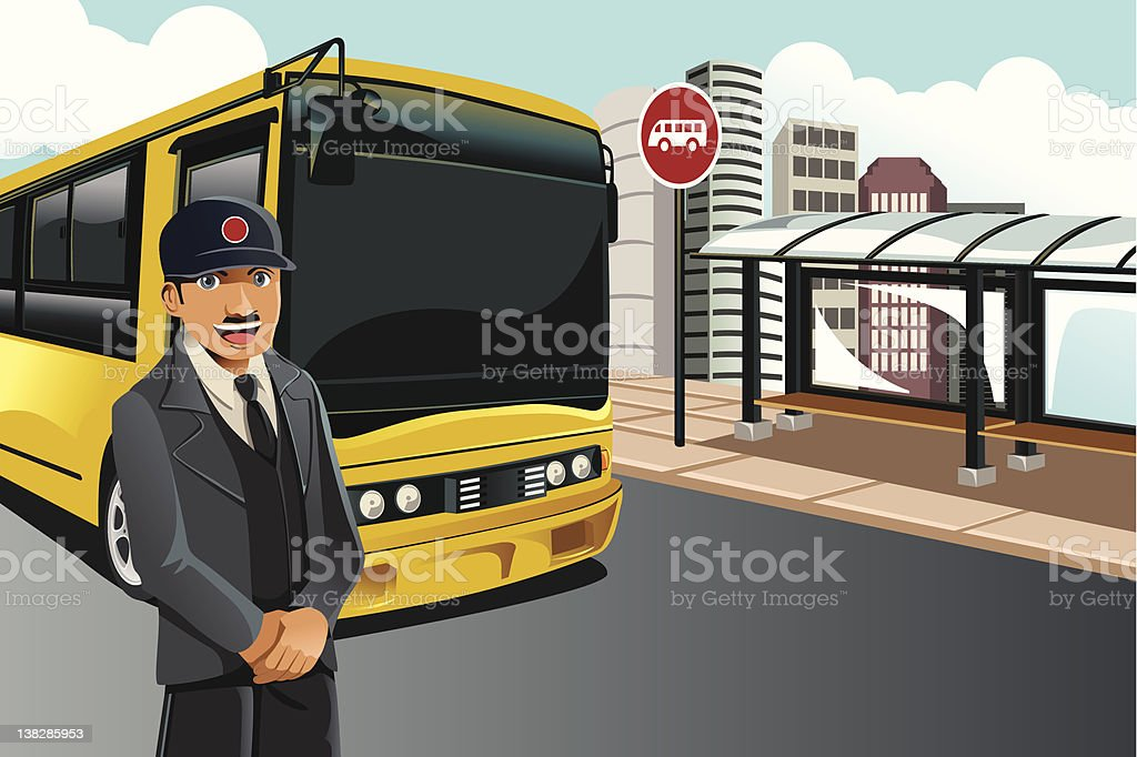 A cartoon image of a driver standing by his yellow bus royalty-free stock vector art