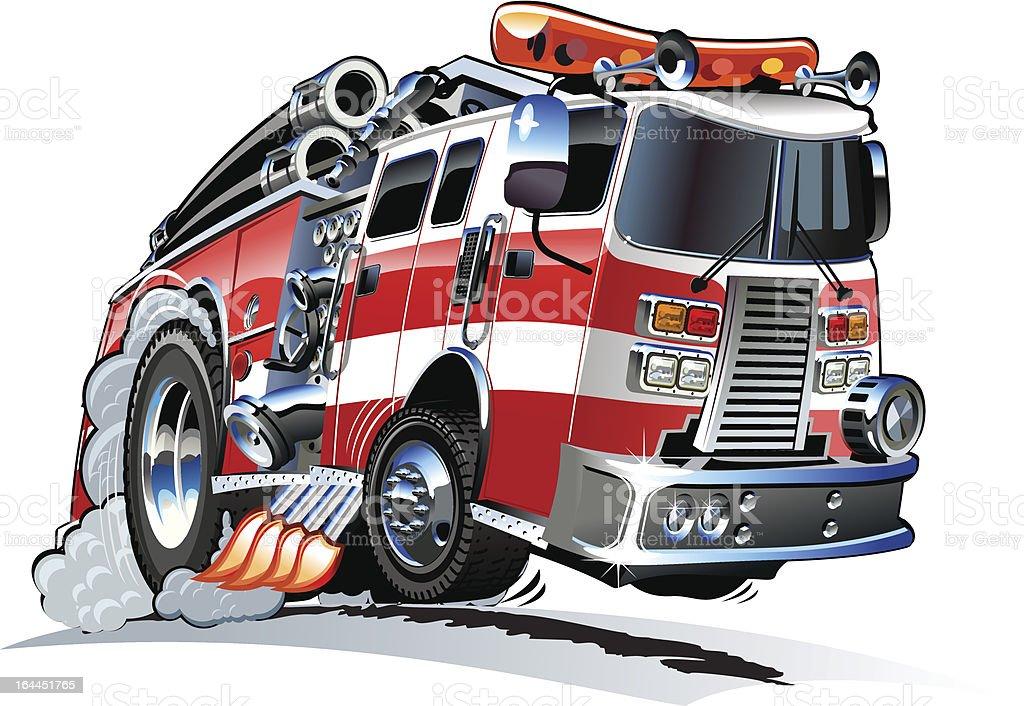 A cartoon image of a fire truck driving fast vector art illustration