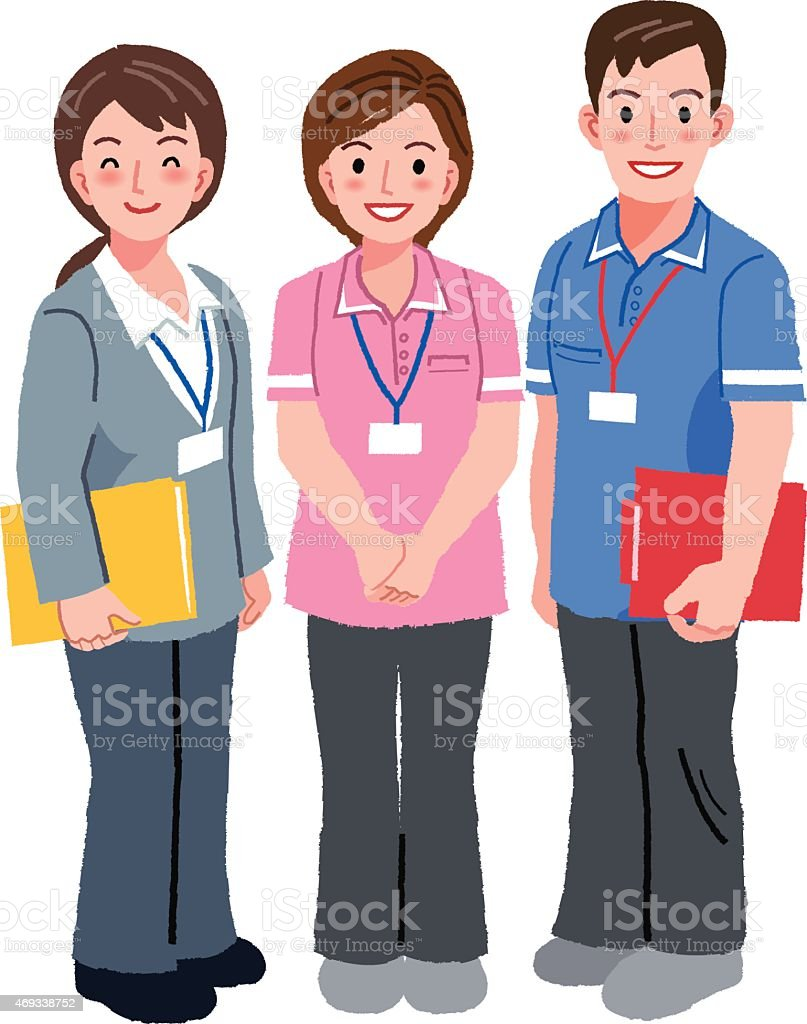 Cartoon image of a geriatric care manager and social workers vector art illustration