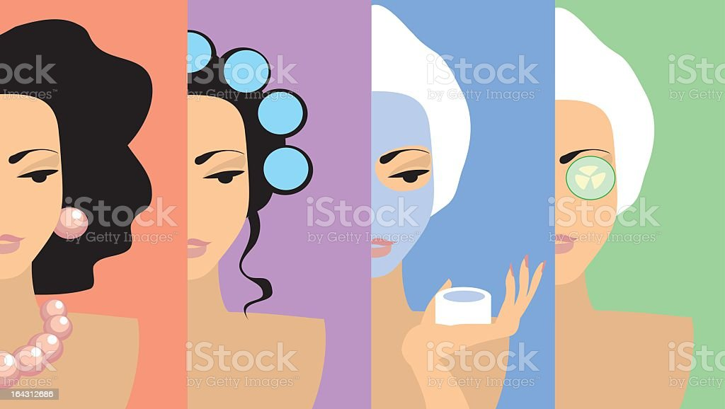 A cartoon image of a lady beautifying vector art illustration