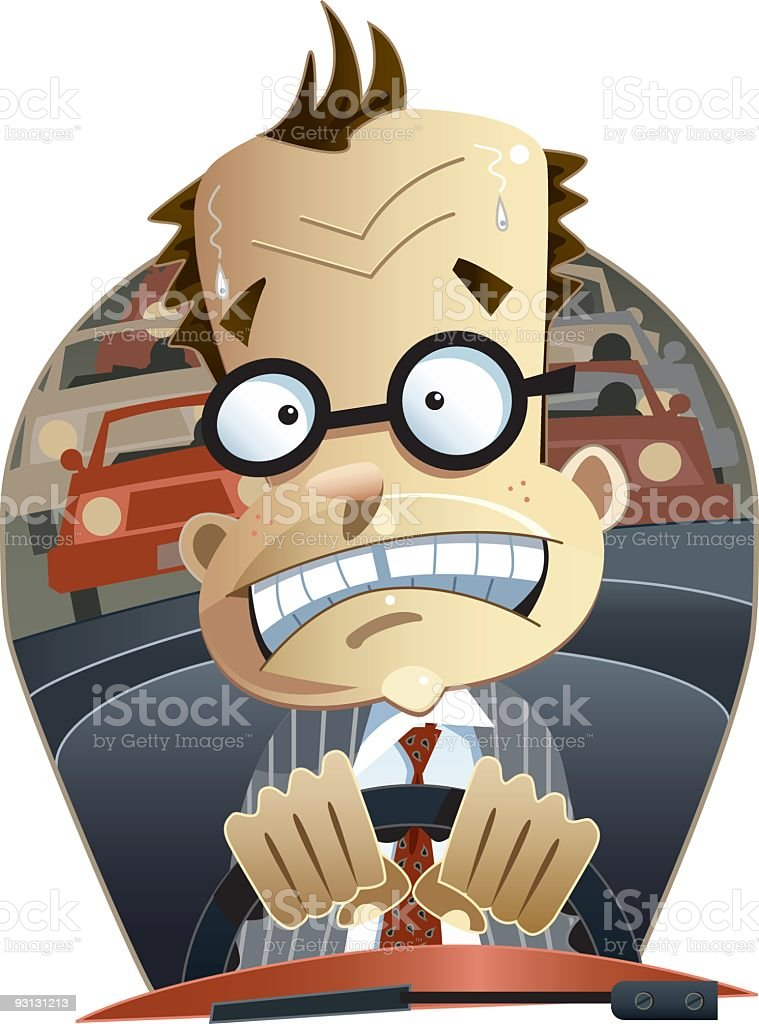 A cartoon image of a man driving in traffic vector art illustration