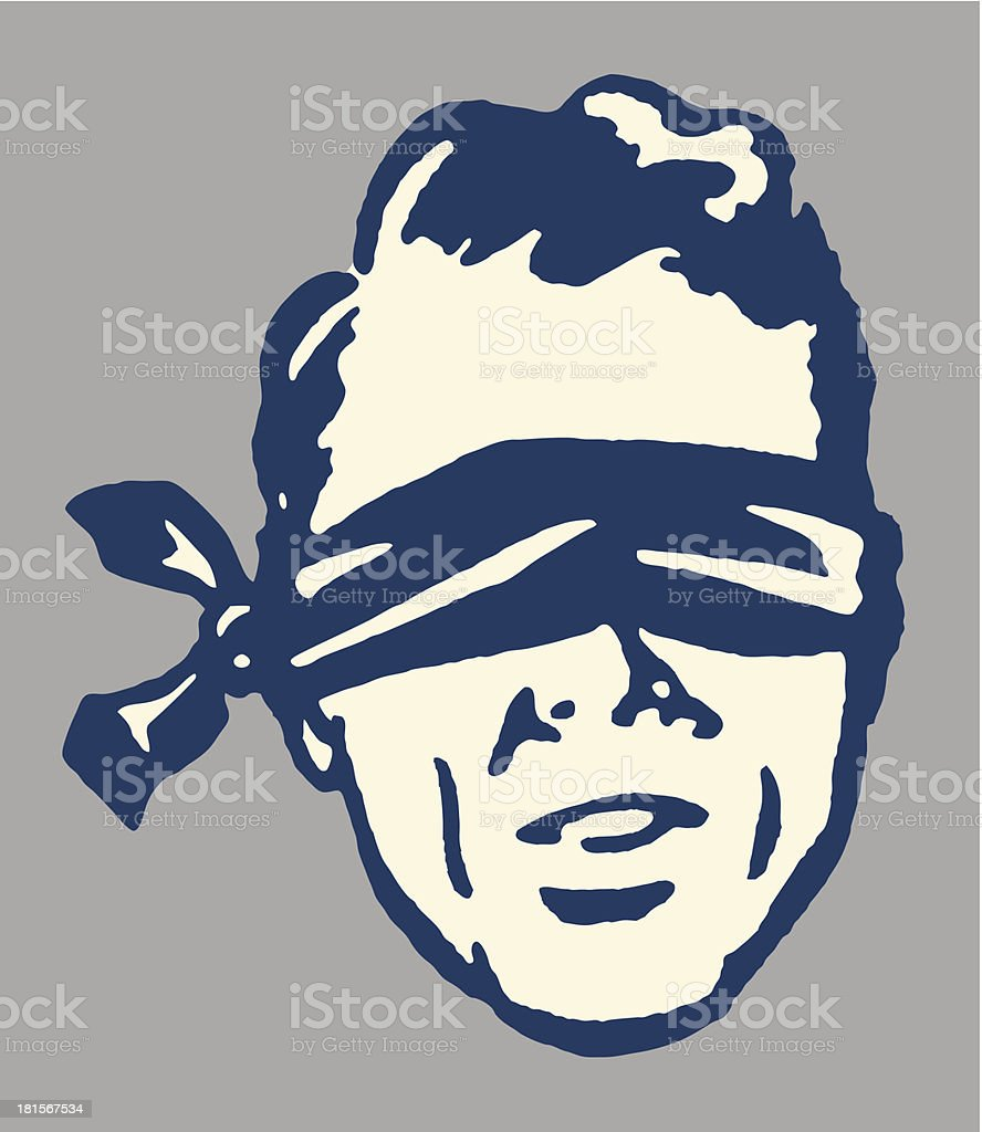 A cartoon image of a man in a blindfold vector art illustration