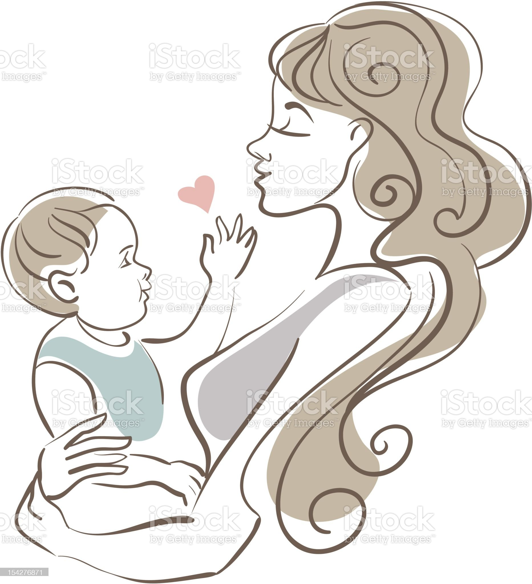A cartoon image of a mother and her baby royalty-free stock vector art