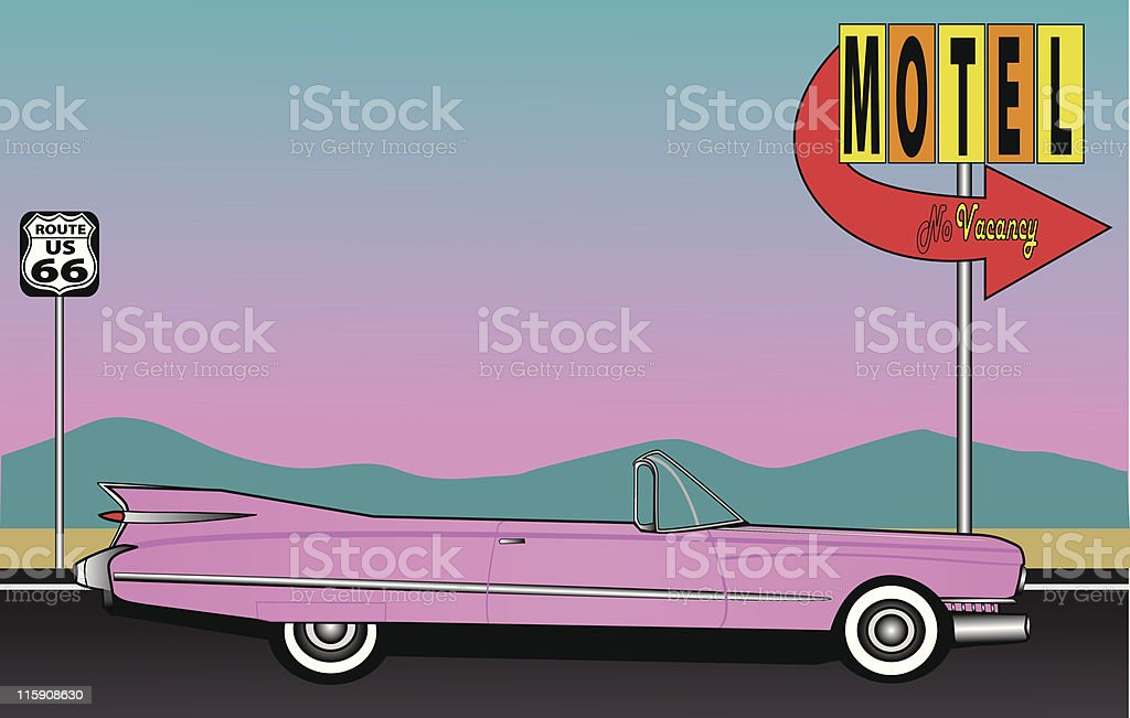 Cartoon image of a pink car driving to a motel vector art illustration
