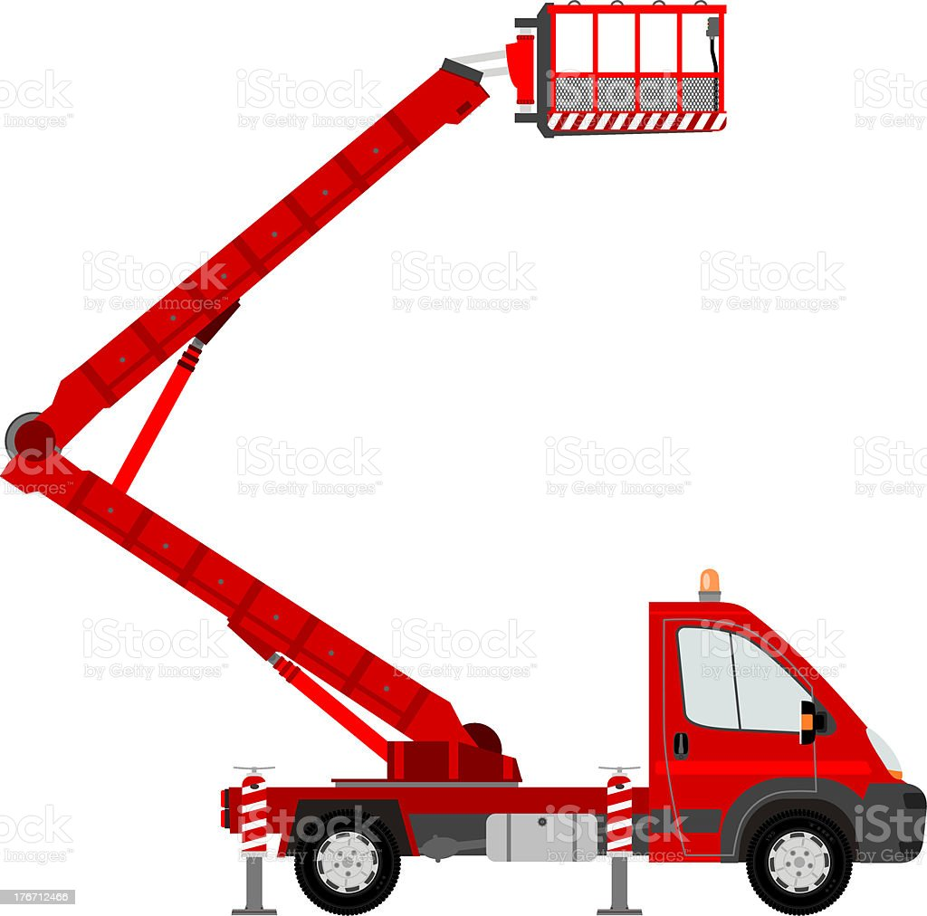 A cartoon image of a Red bucket truck royalty-free stock vector art