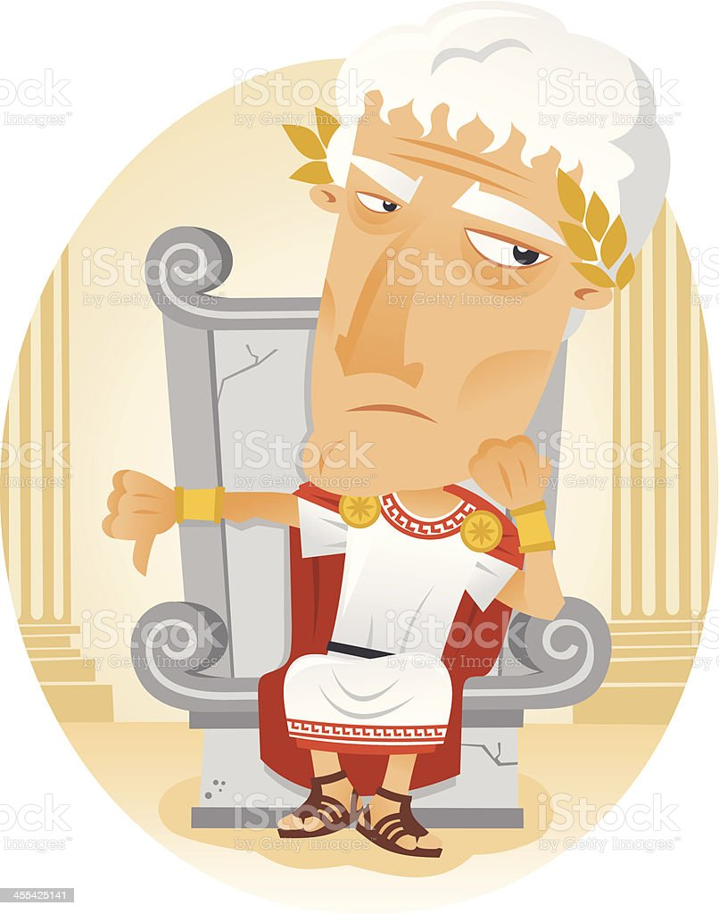 A cartoon image of a Roman emperor vector art illustration