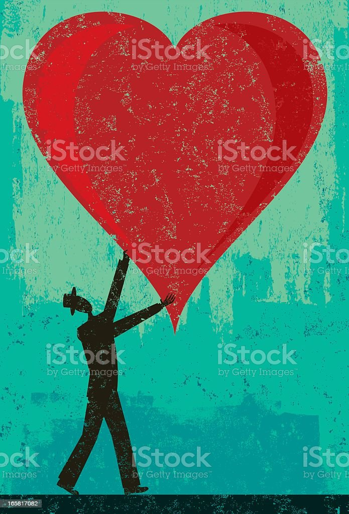A cartoon image of a small man holding a large heart vector art illustration