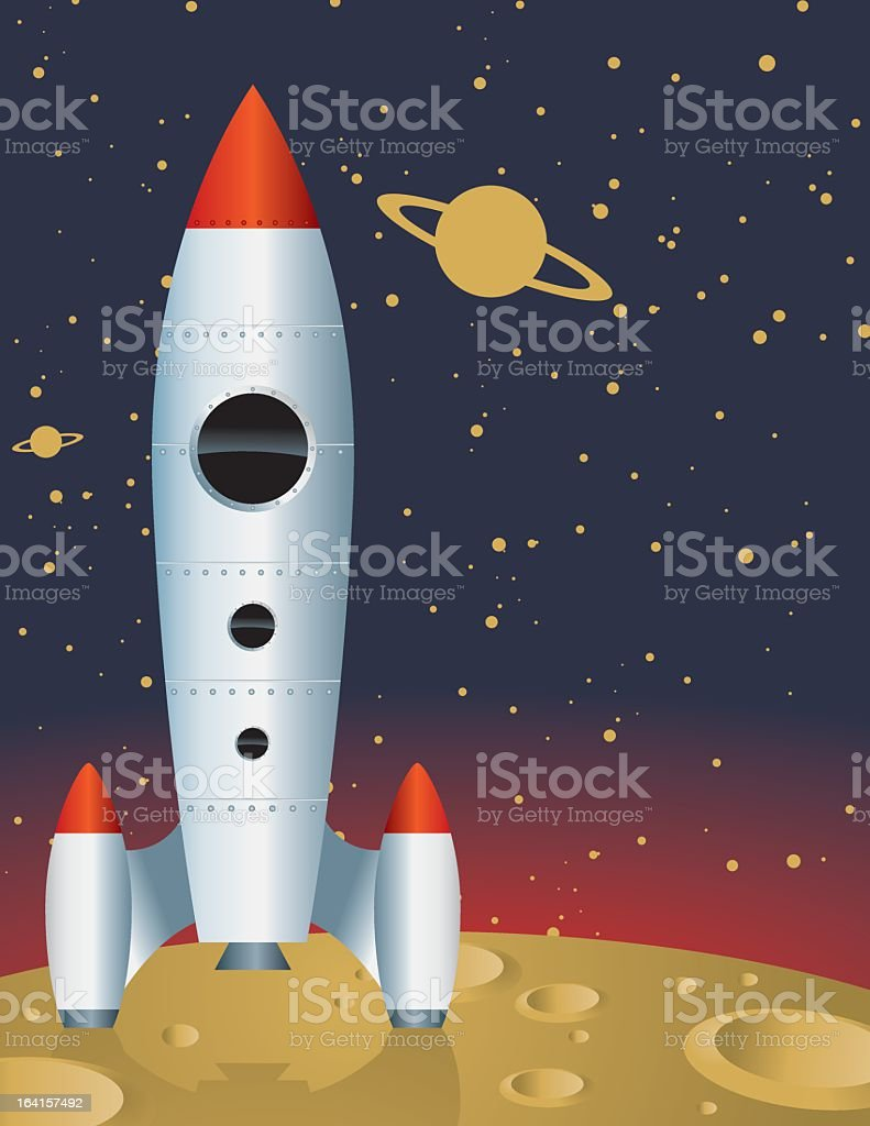 A cartoon image of a space ship on the moon royalty-free stock vector art