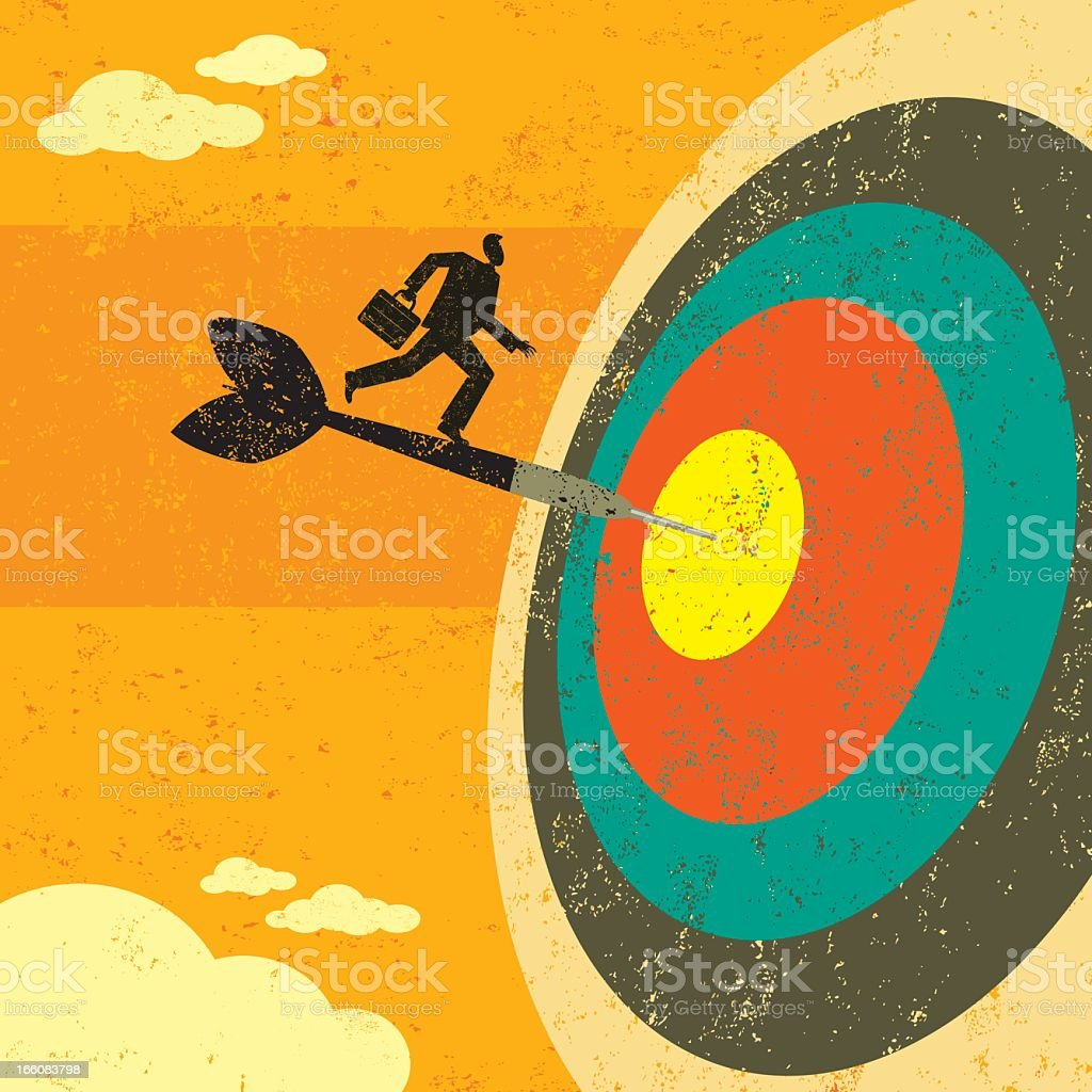 A cartoon image of a target with an arrow and a businessman royalty-free stock vector art