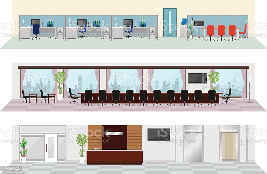 A cartoon image of a three story office building interior vector art illustration