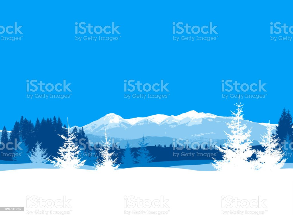 Cartoon image of a winter background in blue and white vector art illustration