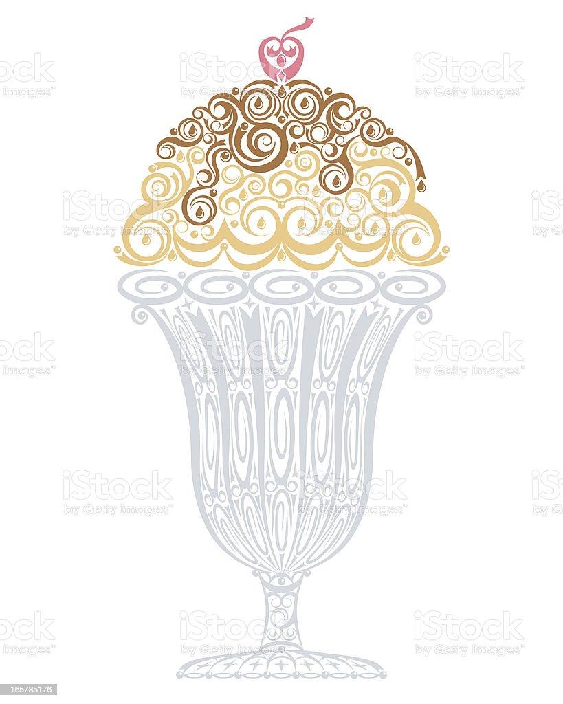 A cartoon image of an ice cream Sunday in a tall glass vector art illustration