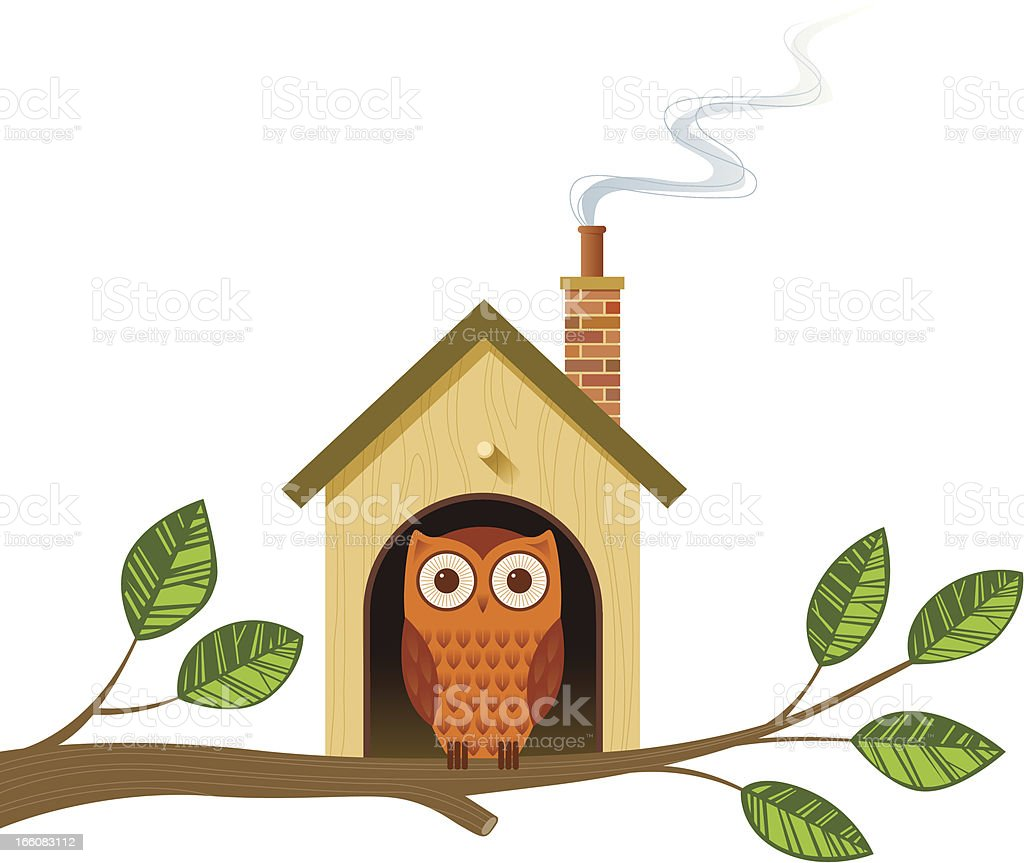 Cartoon image of an owl in a little house on a tree branch vector art illustration