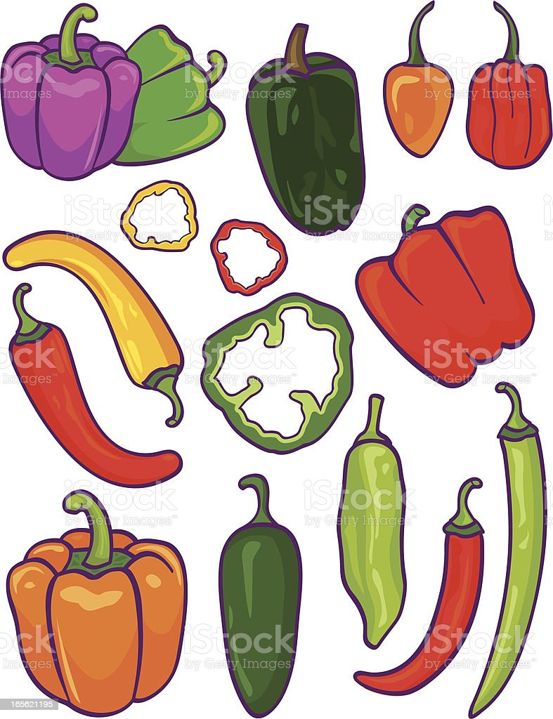 A cartoon image of assorted peppers vector art illustration