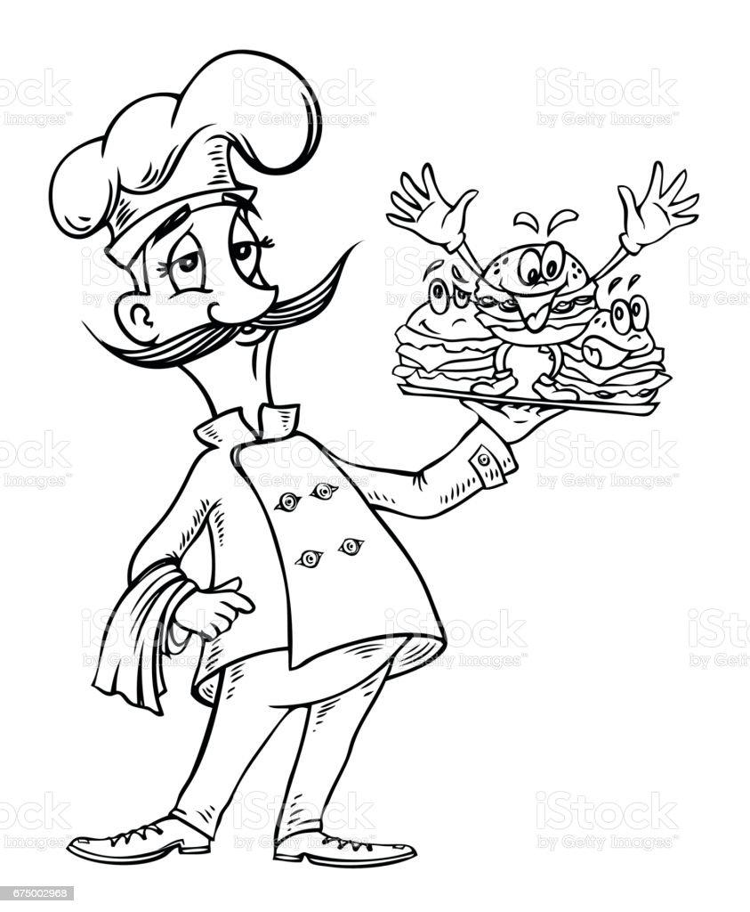 cartoon image of chef with burgers stock vector art 675002968 istock