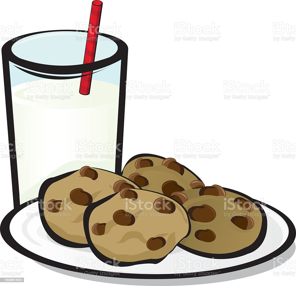 A cartoon image of chocolate-chip cookies and milk vector art illustration