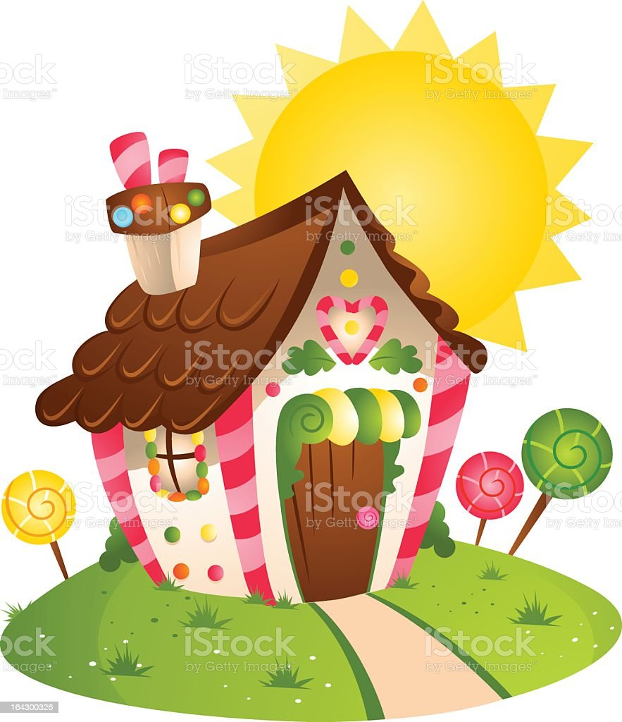 Cartoon image of cute colorful candy house in the sun royalty-free stock vector art