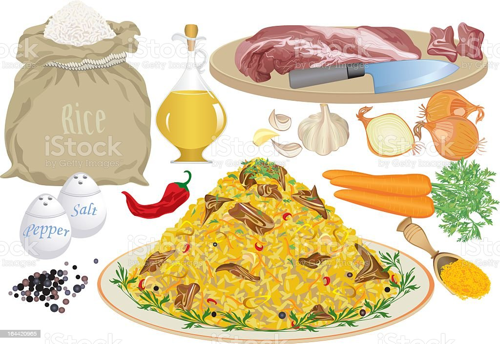 Cartoon image of ingredients used to make rice pilaf royalty-free stock vector art