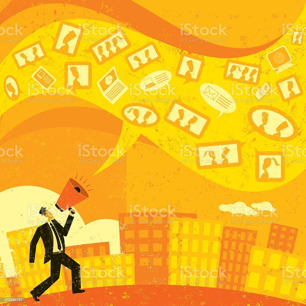 Cartoon image of man communicating with social media royalty-free stock vector art