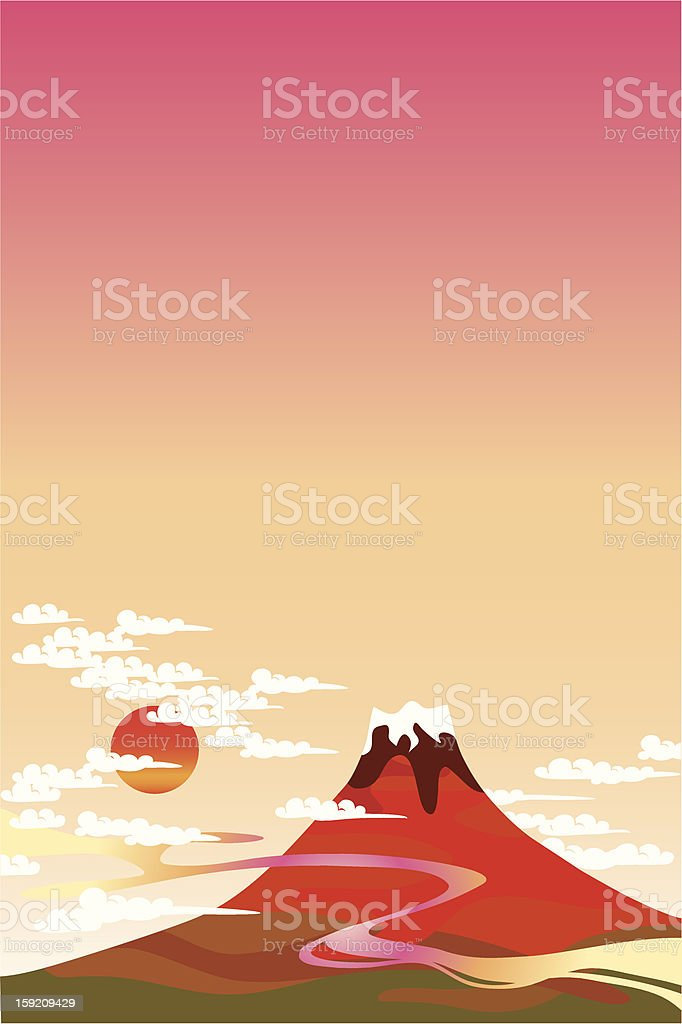 A cartoon image of Mount Fuji in red vector art illustration