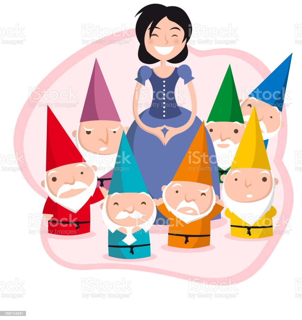 Cartoon image of snow white and the seven dwarfs royalty-free stock vector art