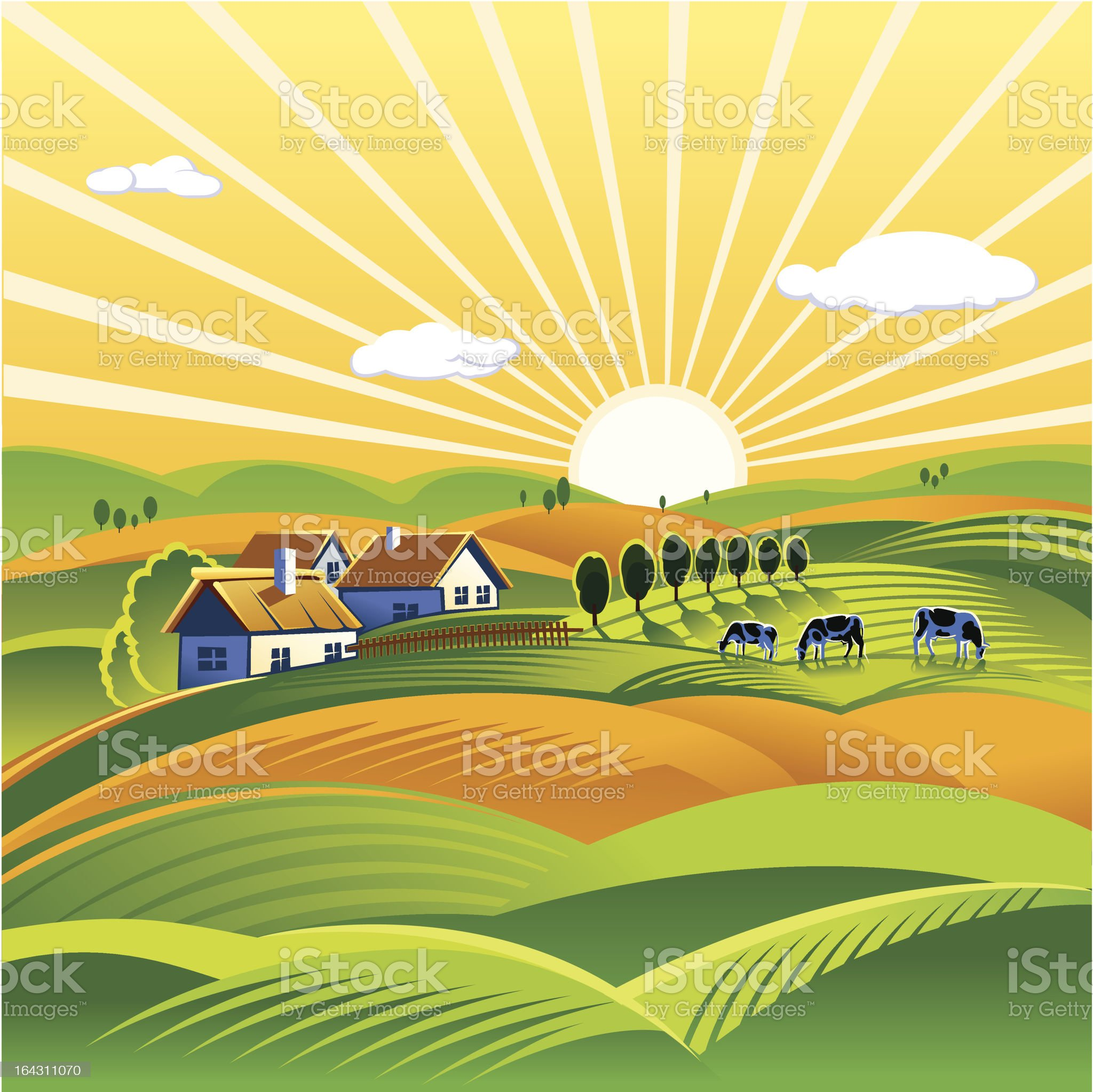 Cartoon image of sun setting on landscape royalty-free stock vector art
