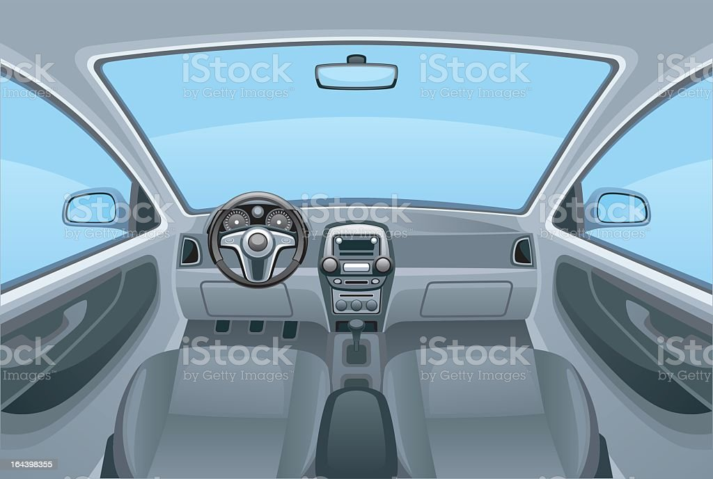 A cartoon image of the inside of a car vector art illustration