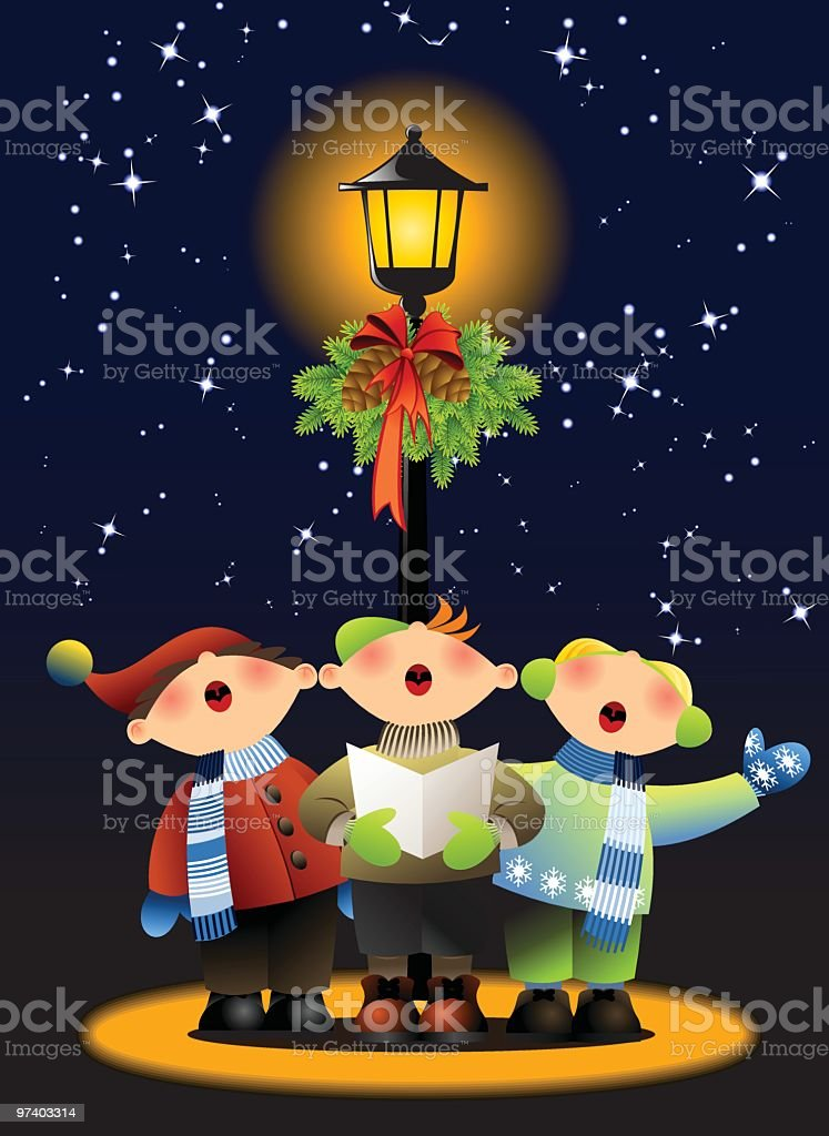 Cartoon image of three people singing Christmas carols royalty-free stock vector art