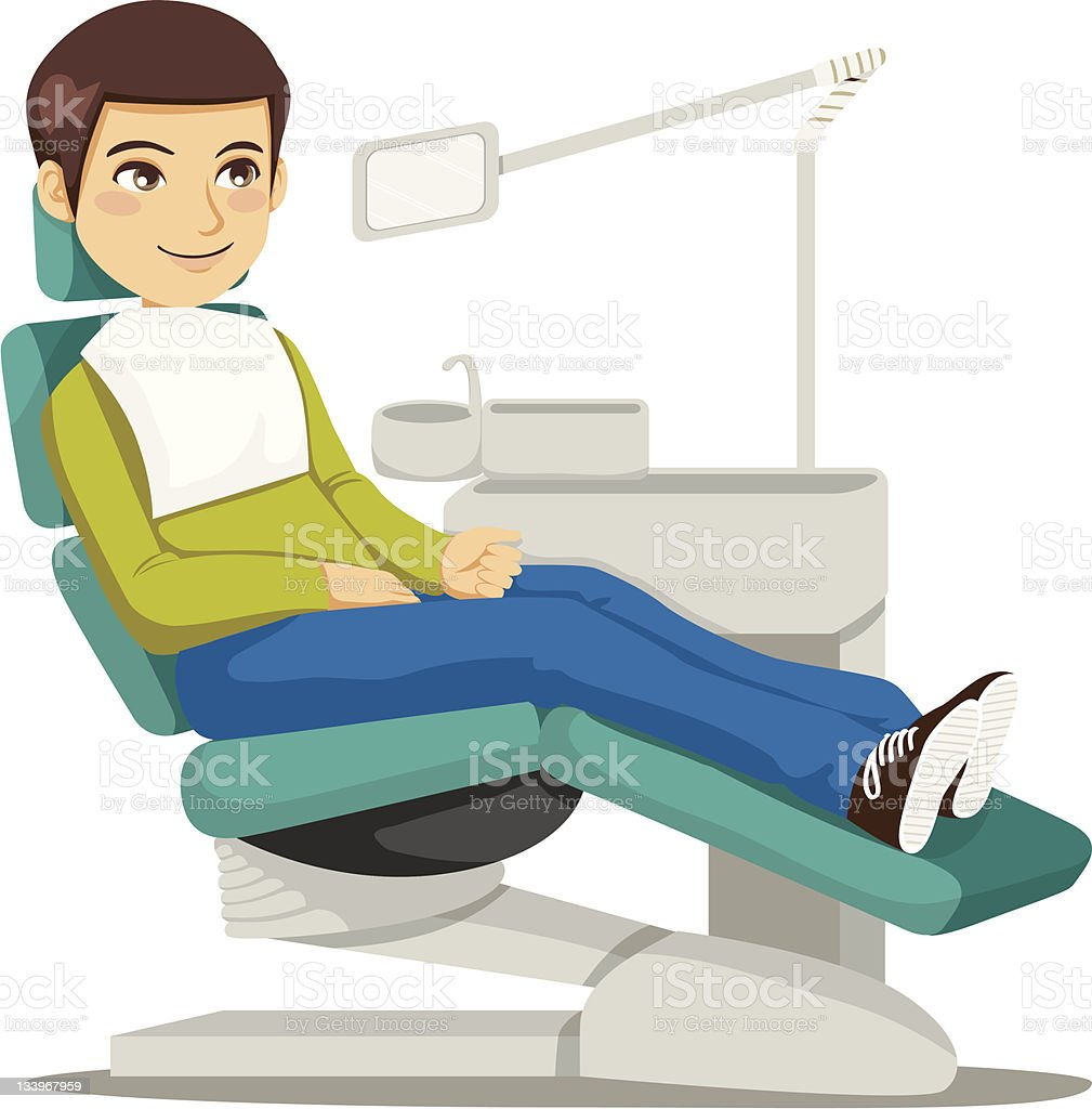 Cartoon image of young boy in jeans in modern dentist chair vector art illustration
